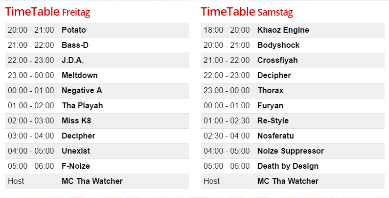 Timetable Masters of Hardcore