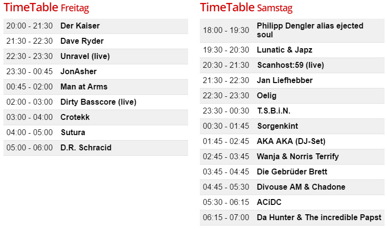 Timetable Acid Wars