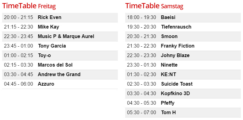 Timetable Borderline