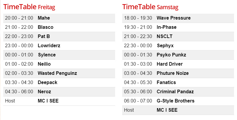 Timetable Dirty Workz