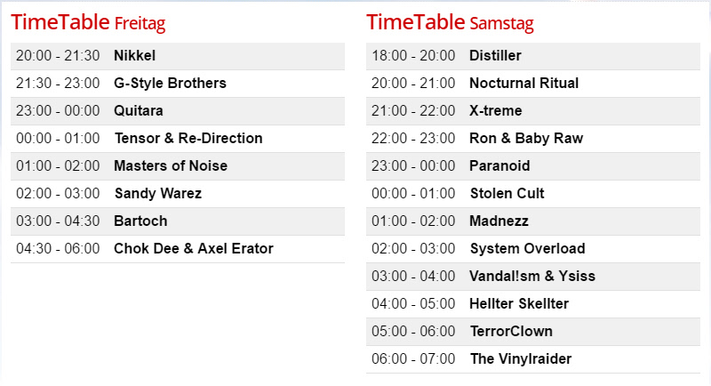 Timetable Hardcore Gladiators