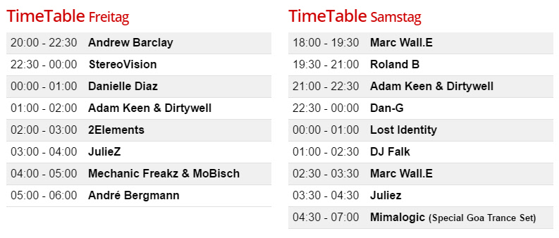 Timetable Hexenhouse